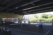 The pickleball courts under Interstate 794. This photo was taken June 18th, 2021 by Angeline Terry.
