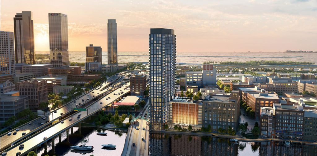 June 2021 rendering of proposed tower for 333 N. Water St. Rendering by Solomon Cordwell Buenz.