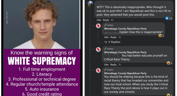 Screenshots of a deleted meme and comments on the Winnebago County Republican Party's Facebook page.