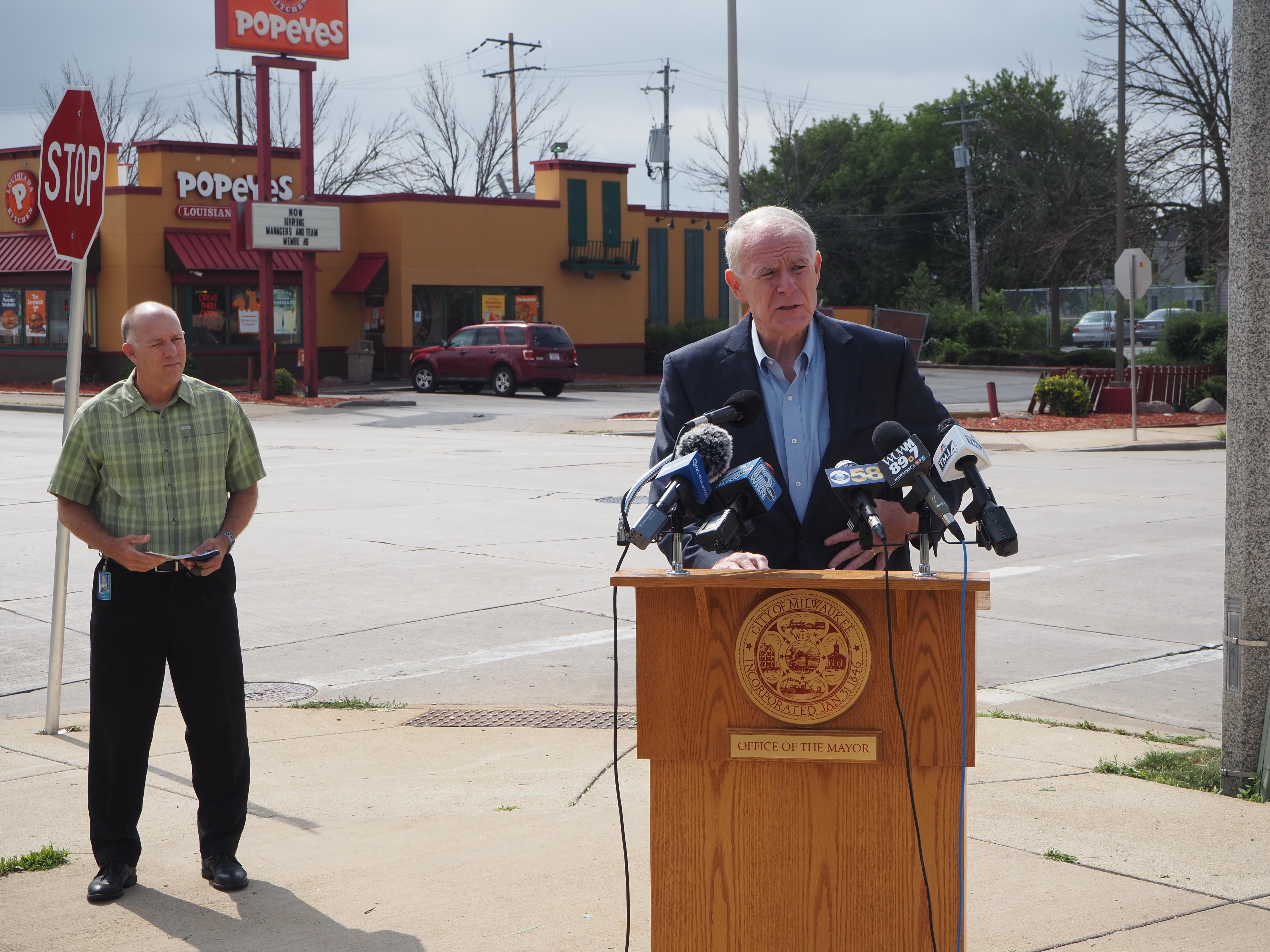 Mayor Tom Barrett announces reckless driving proposal alongside Public Works Commissioner Jeff Polenske. Photo by Jeramey Jannene.