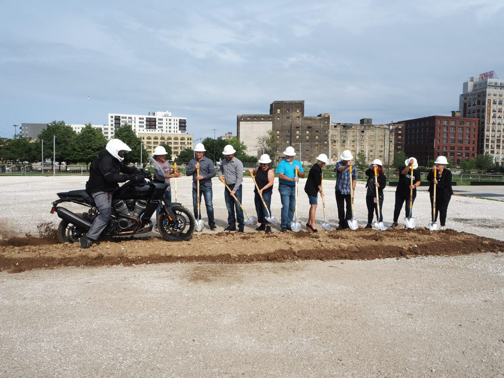 Groundbreaking ceremony for the new The Garage event venue at the Harley-Davidson Museum. Photo by Jeramey Jannene.