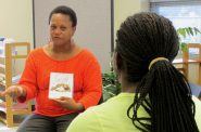 """Dalvery Blackwell, founder of the Milwaukee-based African American Breastfeeding Network, says peer counseling programs allow counselors an opportunity to not """"put women in a box and define who and what they are."""" She's shown providing maternity advice at the now-closed Marquette Neighborhood Health Center in 2013. NNS file photo by Kara Cucchiarelli."""