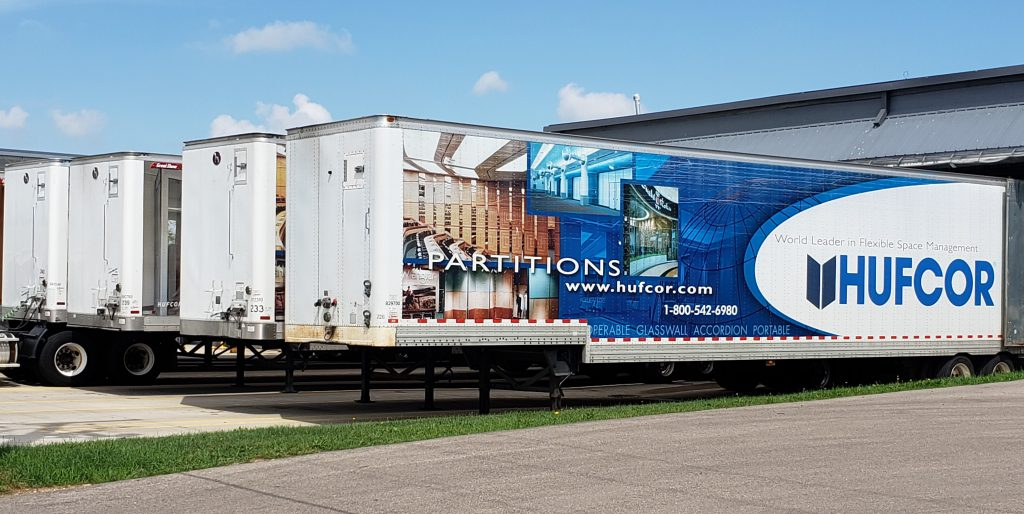 Trailers to deliver products from Hufcor are lined up outside the company's factory in Janesville. Photo by Erik Gunn/Wisconsin Examiner.
