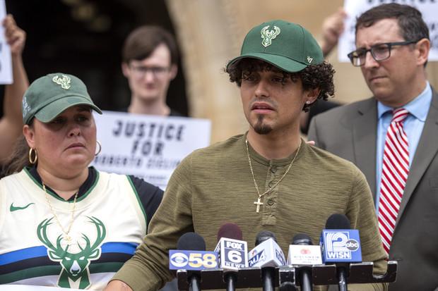 Jacob Gonzalez, Roberto Zielinski's nephew, speaks to reporters at a press conference Friday, July 16, 2021, in Milwaukee, Wis. Angela Major/WPR