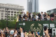 Giannis with championship trophy. Photo taken July 22, 2021 by Hope Moses.