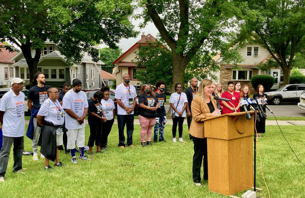 Milwaukee Health Department Commissioner Kirsten Johnson speaks astatine  a quality    league  earlier this period  connected  door-to-door vaccinations. Photo provided by Milwaukee Health Department/NNS.