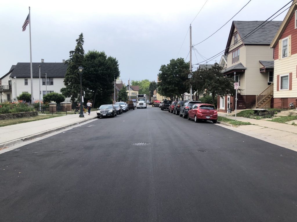 N. Arlington Pl. after being converted to two-way traffic. Photo by Jeramey Jannene.