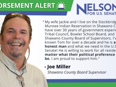 Prominent Local and Tribal Leader Joe Miller Endorses Tom Nelson for U.S. Senate