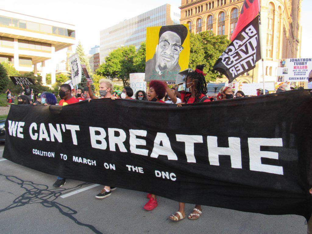 The march on the DNC in Milwaukee, August 20th, 2020. Photo by Isiah Holmes/Wisconsin Examiner.