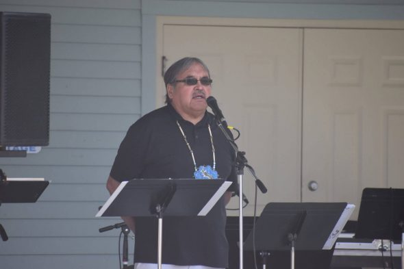 David Grignon speaks astatine  h2o  solemnisation  connected  Stephenson Island, Wisc. July 16. Photo by Laina G. Stebbins/Wisconsin Examiner.