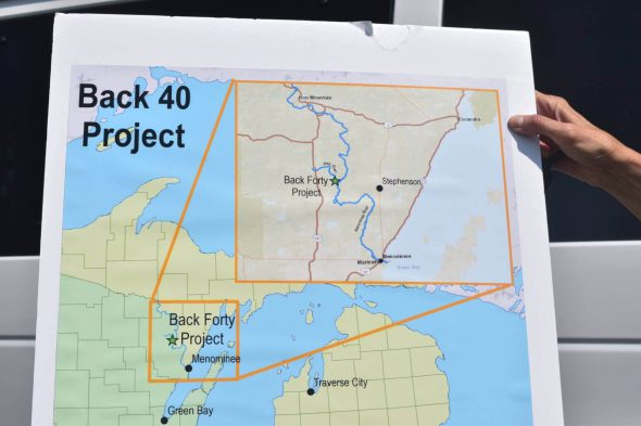 Diagram showing determination  of projected  Back Forty Mine. Photo by Laina G. Stebbins/Wisconsin Examiner.