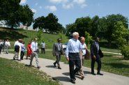 Tom Barrett leads EPA Administrator Michael Regan through Pulaski Park. Photo taken July 6th, 2021 by Angeline Terry.