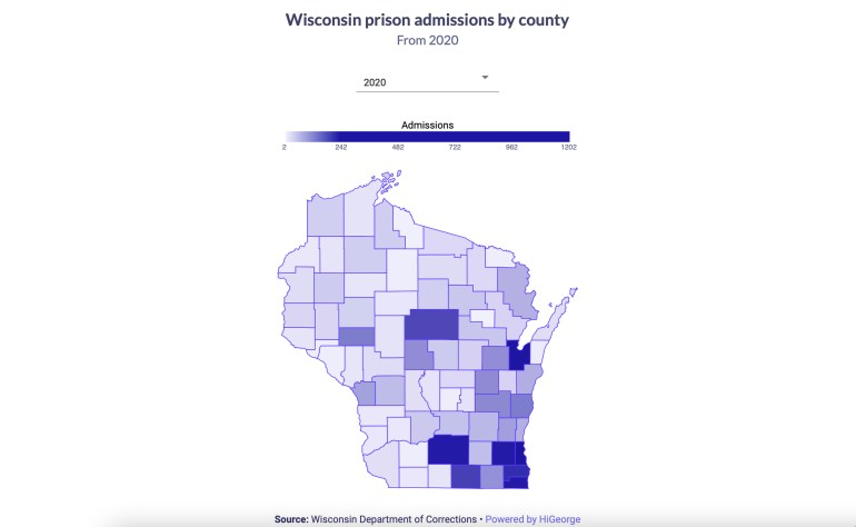Wisconsin prison admissions by county