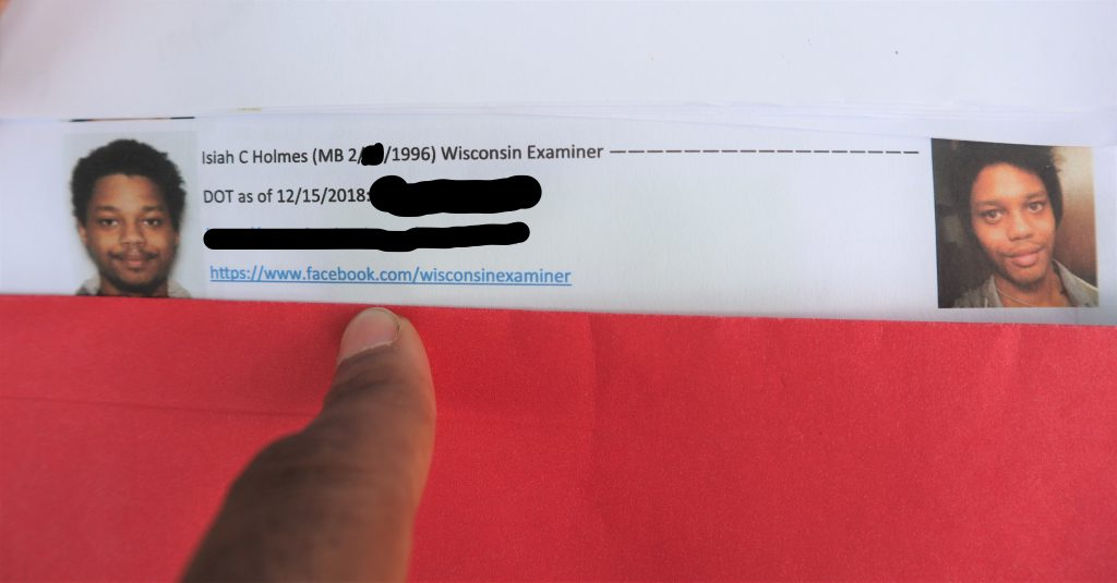 My entry on Wauwatosa PD's protester list. Photo by Isiah Holmes/Wisconsin Examiner.