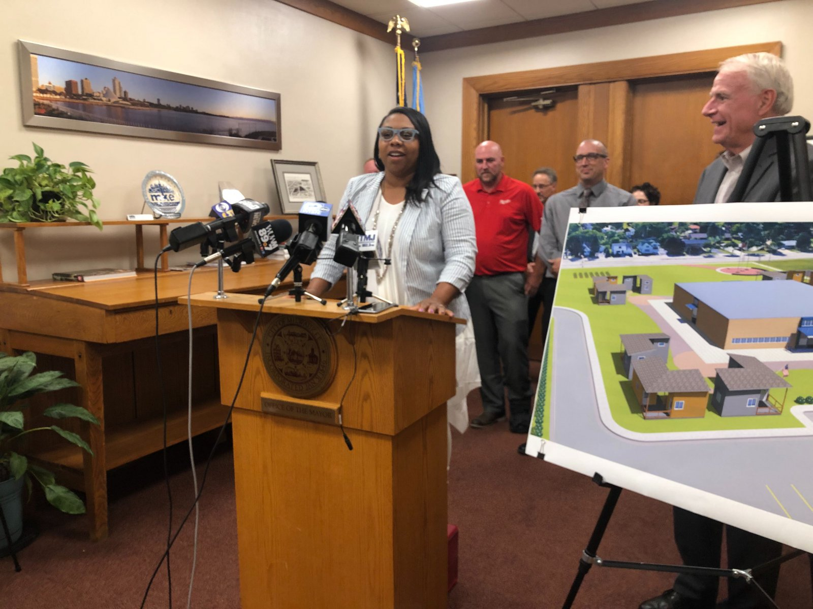 Chantia Lewis speaks at a 2019 press conference on tiny homes for veterans. Photo by Jeramey Jannene.