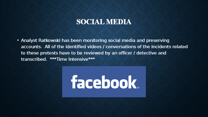 An example from a Wauwatosa PD investigative PowerPoint discussing social media monitoring.