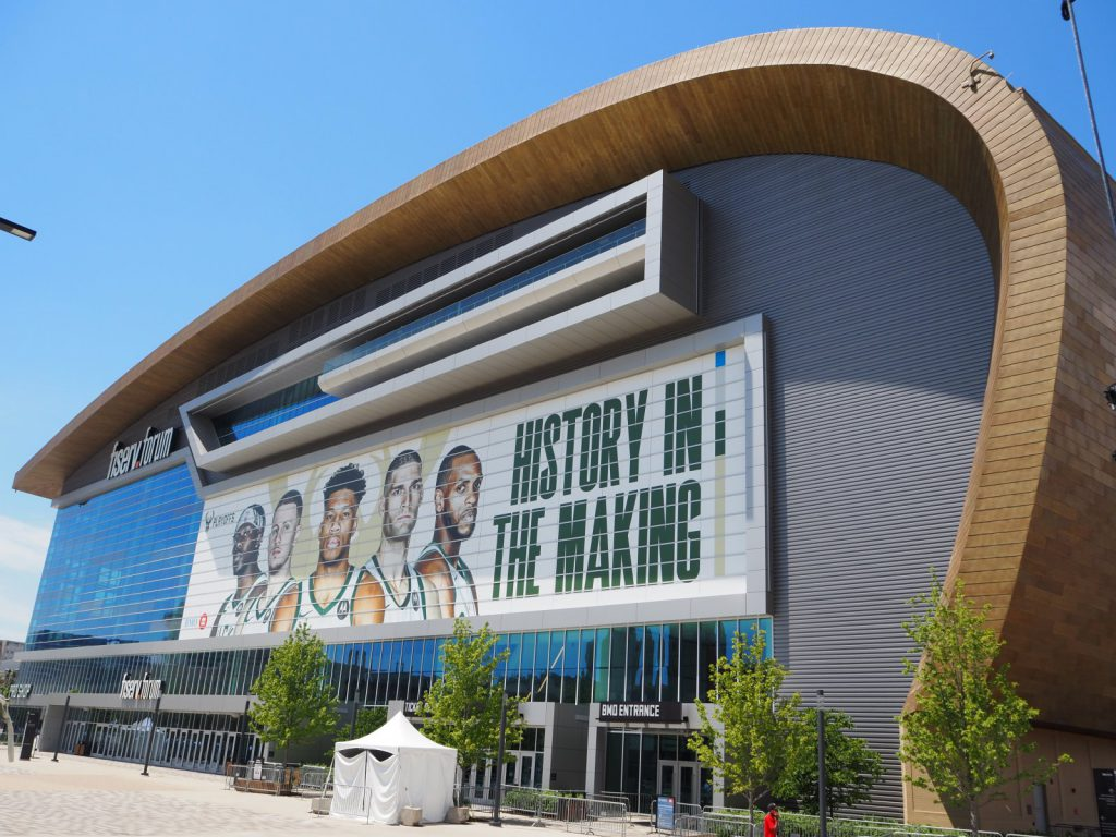 Fiserv Forum during the 2021 playoffs. Photo by Angeline Terry.