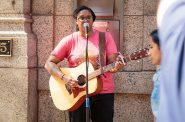 Roxie Beane performs in downtown Milwaukee. Photo from Milwaukee Downtown.