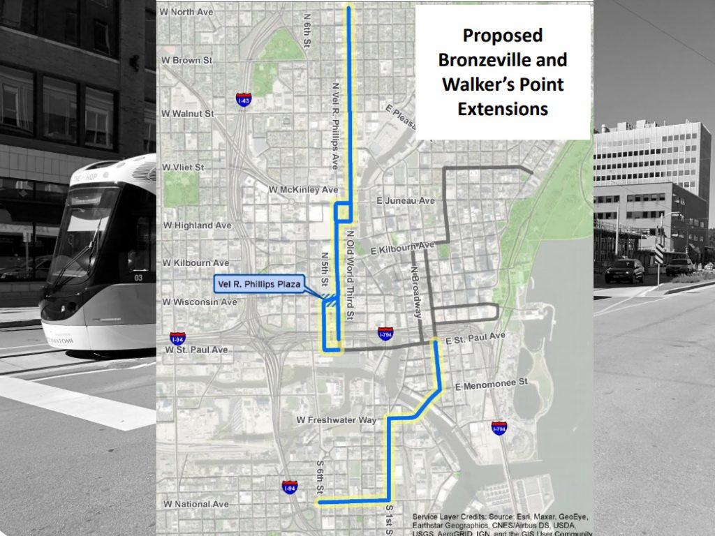2021 streetcar enlargement  map. Map from the City of Milwaukee - Department of City Development.