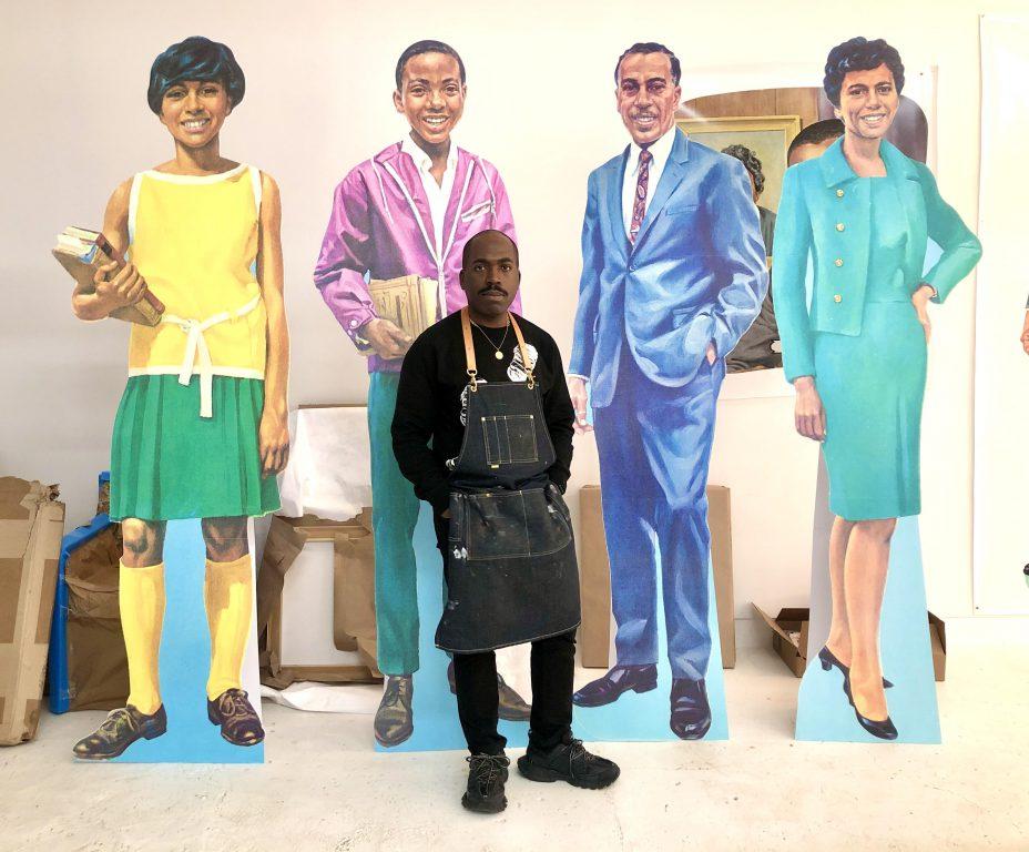 Artist Derrick Adams in his Brooklyn studio. Photo courtesy of Derrick Adams Studio.