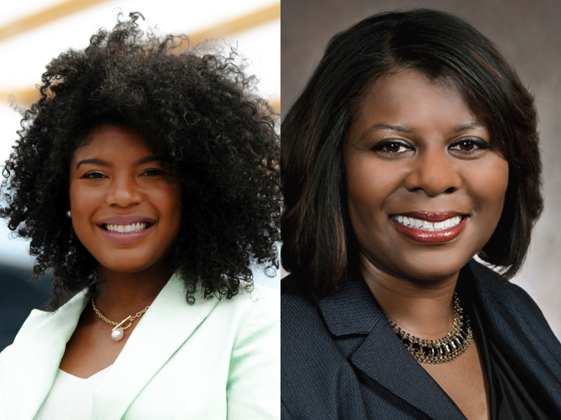 Milwaukee County Board Chairwoman Marcelia Nicholson and state Sen. LaTonya Johnson.