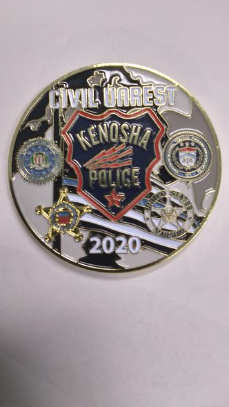 An example of a challenge coin distributed within the Kenosha Police Department following the unrest in August, 2020. Photo by Kenosha Police Department.