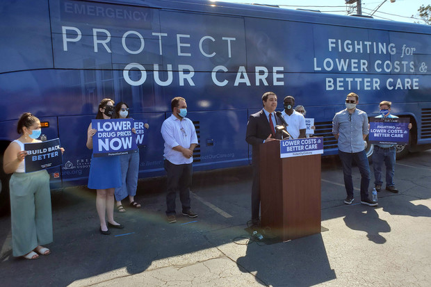 Wisconsin Attorney General Josh Kaul speaks during an event Friday, Aug. 20, in Milwaukee, Wisc. Health care advocates joined with state and Milwaukee officials from the Democratic Party to call for lower health care costs in Wisconsin and across the United States. Christine Hatfield/WPR