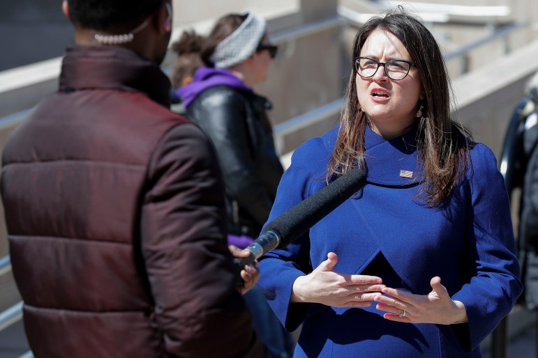 """Wausau Mayor Katie Rosenberg is calling for a basic income program for a small number of low-income working families. """"It might only tackle a few individuals, maybe it's only 18 or maybe it's only 15, but it will still take steps toward tackling that problem of poverty and homelessness in our city,"""" she says. Rosenberg is seen during her swearing in on April 21, 2020, at Wausau City Hall in Wausau, Wis. Credit: Tork Mason / USA TODAY NETWORK-Wisconsin"""