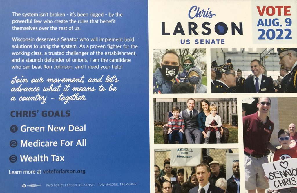 U.S. Senate campaign literature handed out by Chris Larson. Photo by Jeramey Jannene.