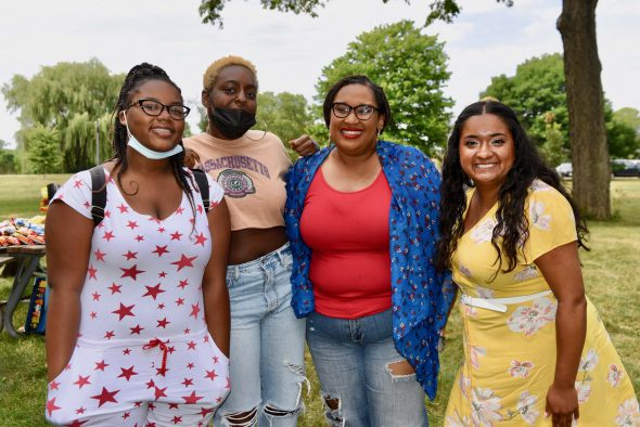 """Bre'Andre Walker (from left), Aniyah McDonald, Angela Harris and Alondra Garcia participated in the """"Design Your Future"""" fellowship. Walker and McDonald were fellows this summer, while Harris and Garcia are MPS teachers who helped them with their proposals. (Photo by Sue Vliet/MNNS)"""
