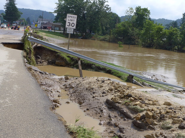 The side of Highway 14 on the west side of Coon Valley, looking east into town, was washed out from flooding Monday, Aug. 27, 2018. Photo taken Tuesday, Aug. 28, 2018. Photo by Hope Kirwan/WPR.