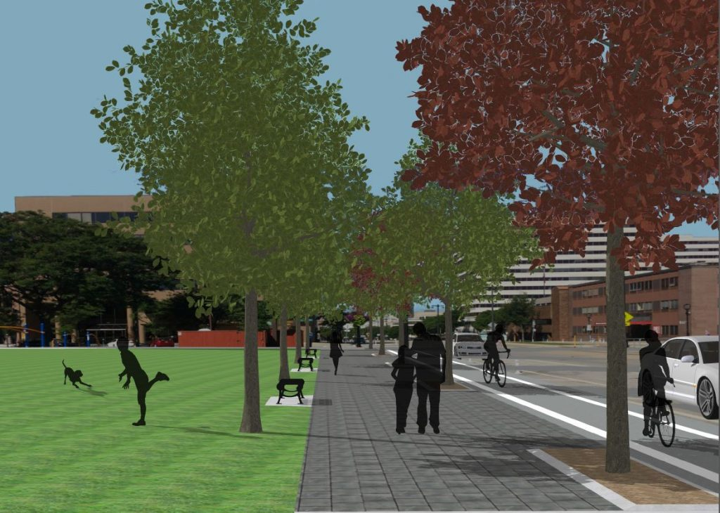 Cathedral Square Park streetscaping rendering. Image from Cathedral Square Friends.