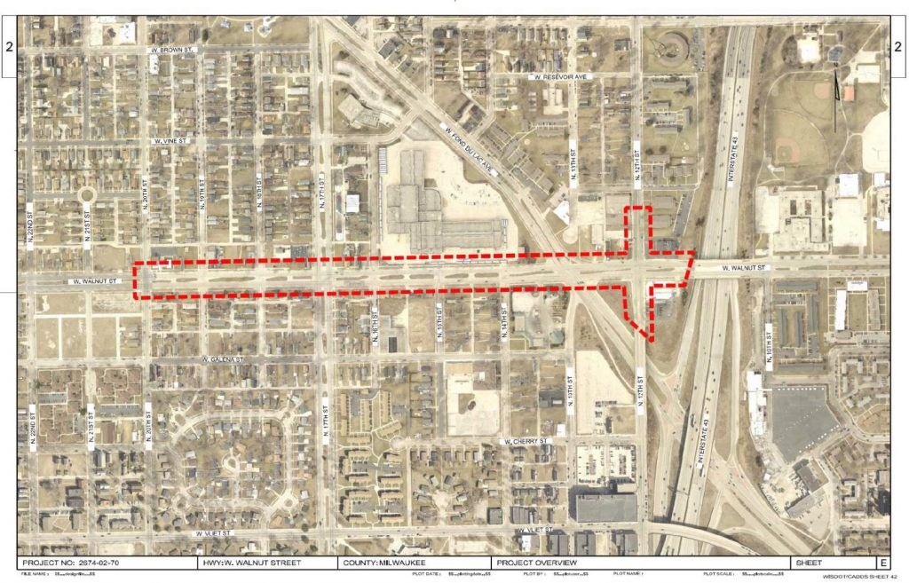 W. Walnut St. reconstruction project area. Image from the Department of Public Works.