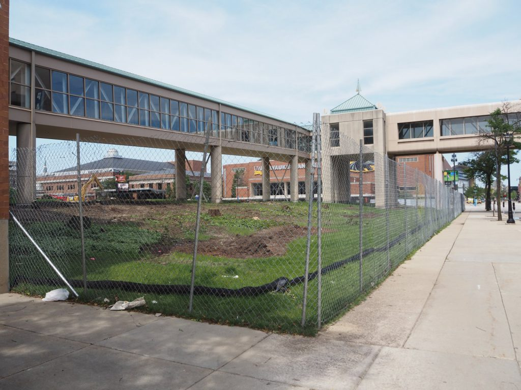 Wisconsin Center construction fence. Photo by Jeramey Jannene.