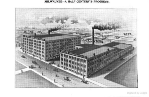 A.D. Meiselbach bicycle factory. Image from the book Milwaukee--A Half Century's Progress.
