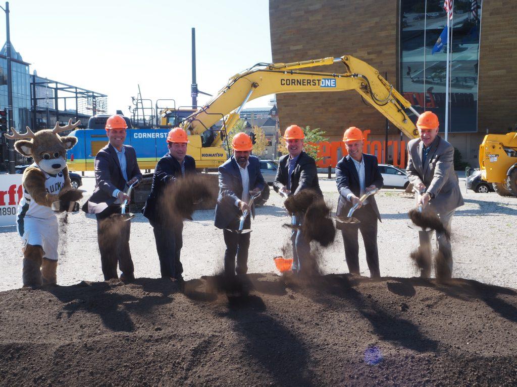 Bango, Michael Belot, Peter Feigin, Jeff Lenz, Andy Inman, Jeff Tubbs and Mayor Tom Barrett at The Trade groundbreaking. Photo by Jeramey Jannene.