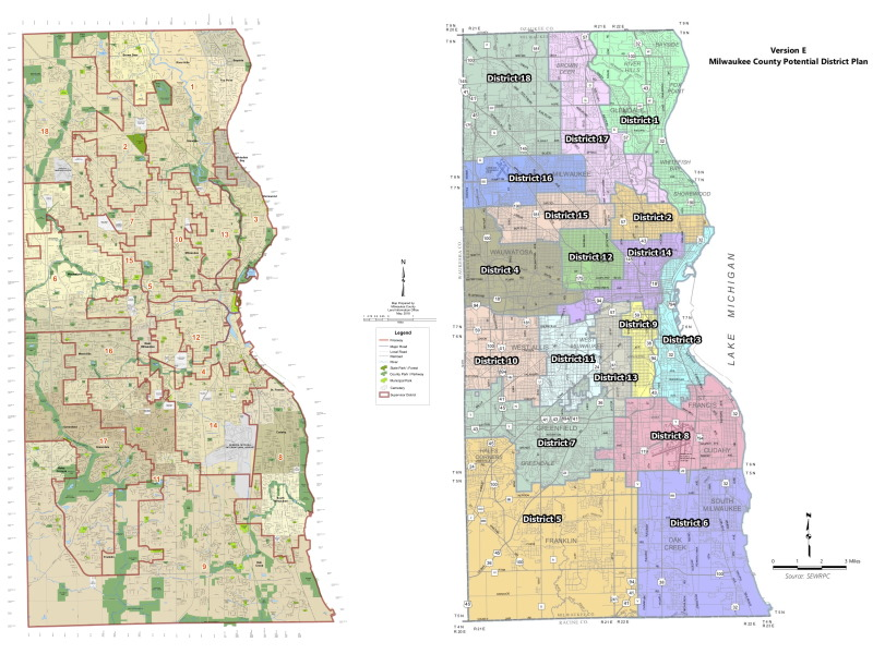 Current county board districts and the proposed districts.