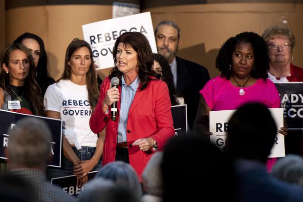 Former Lt. Gov. Rebecca Kleefisch announces her campaign for governor Thursday, Sept. 9, 2021, at Western States Envelope Company in Butler, Wis. Angela Major/WPR