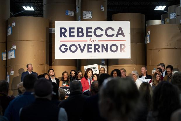 Former Lt. Gov. Rebecca Kleefisch addresses a crowd on stage while announcing her campaign for governor Thursday, Sept. 9, 2021, at Western States Envelope Company in Butler, Wis. Angela Major/WPR