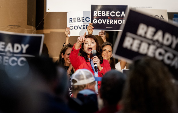 Former Lt. Gov. Rebecca Kleefisch points at the crowd while announcing her campaign for governor Thursday, Sept. 9, 2021, at Western States Envelope Company in Butler, Wis. Angela Major/WPR