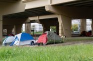 Milwaukee's homeless residents often set up tent camps underneath the Marquette Interchange. This photo was taken in 2018. NNS file photo by Max Nawara.