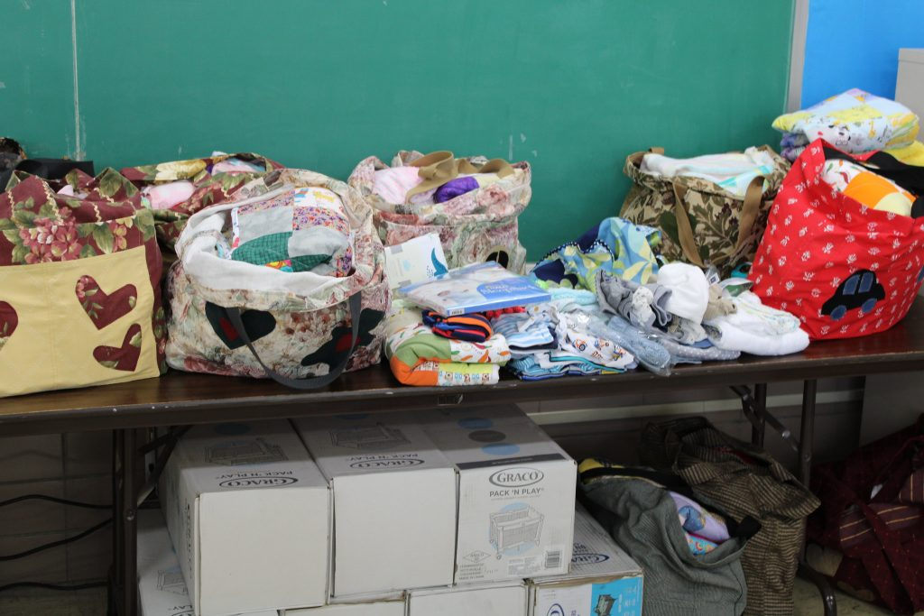 The HOPE Network's layette bags contain about $125 worth of baby supplies. Photo by Matt Martinez/NNS.