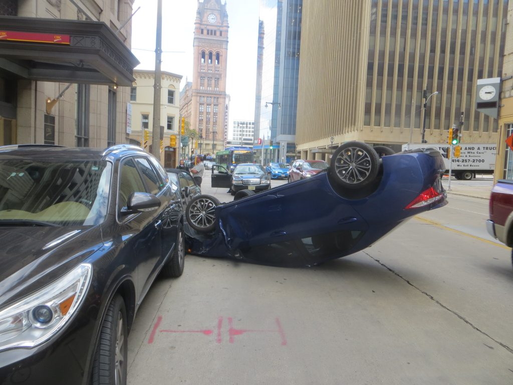 Car crash on N. Water St. Photo by Michael Horne.