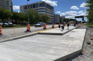 Future BRT platform on N. 92nd St. at the Milwaukee Regional Medical Center. Photo by Graham Kilmer.
