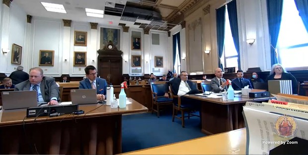 Defense attorney Corey Chirafisi gestures during arguments in Kenosha County Circuit Court in a motion hearing ahead of the trial of Kyle Rittenhouse, Friday, Sept. 17, 2021. Screenshot from video stream of hearing