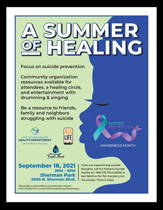 Milwaukee Office of Violence Prevention, 414Life, and the Commission on Domestic Violence and Sexual Assault to Host Summer of Healing Event