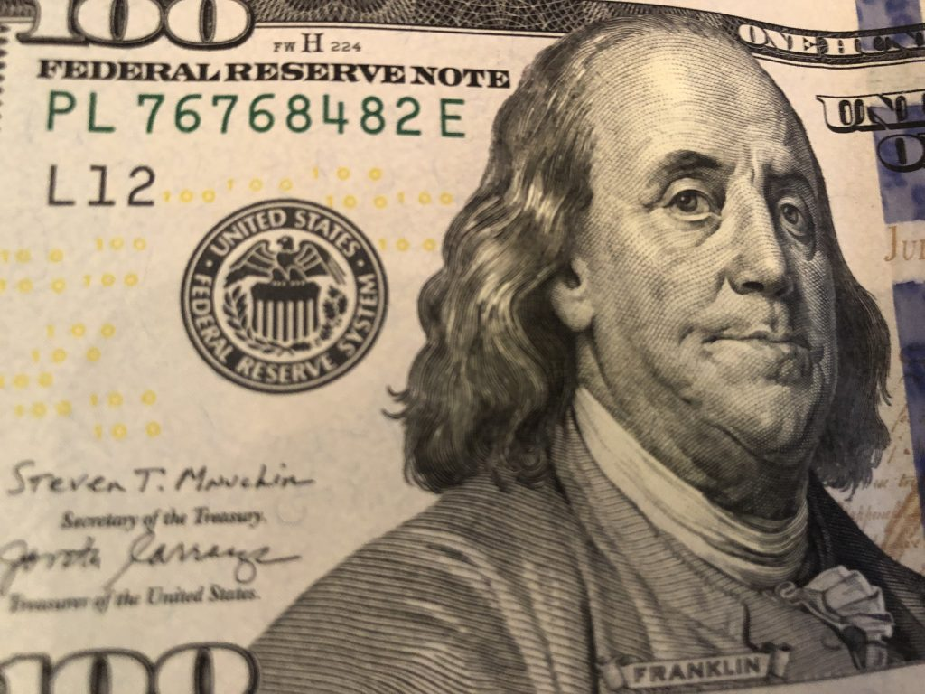 100 Dollar Bill. Photo by Dave Reid.