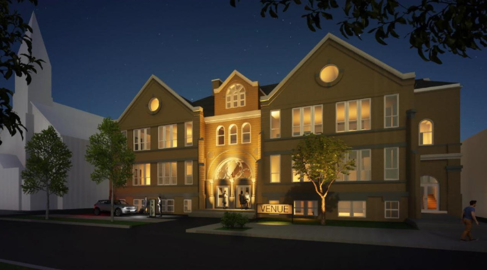 Rendering of redeveloped St. Peter St. Paul school. Rendering by Galbraith Carnahan Architects.