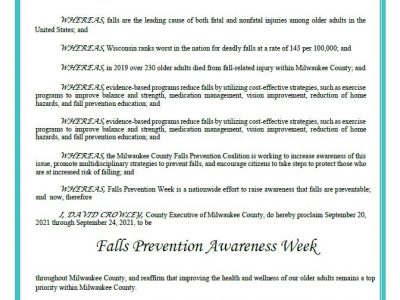 Milwaukee County Falls Prevention Coalition Brings Community Together as County Executive David Crowley Proclaims Falls Prevention Awareness Week