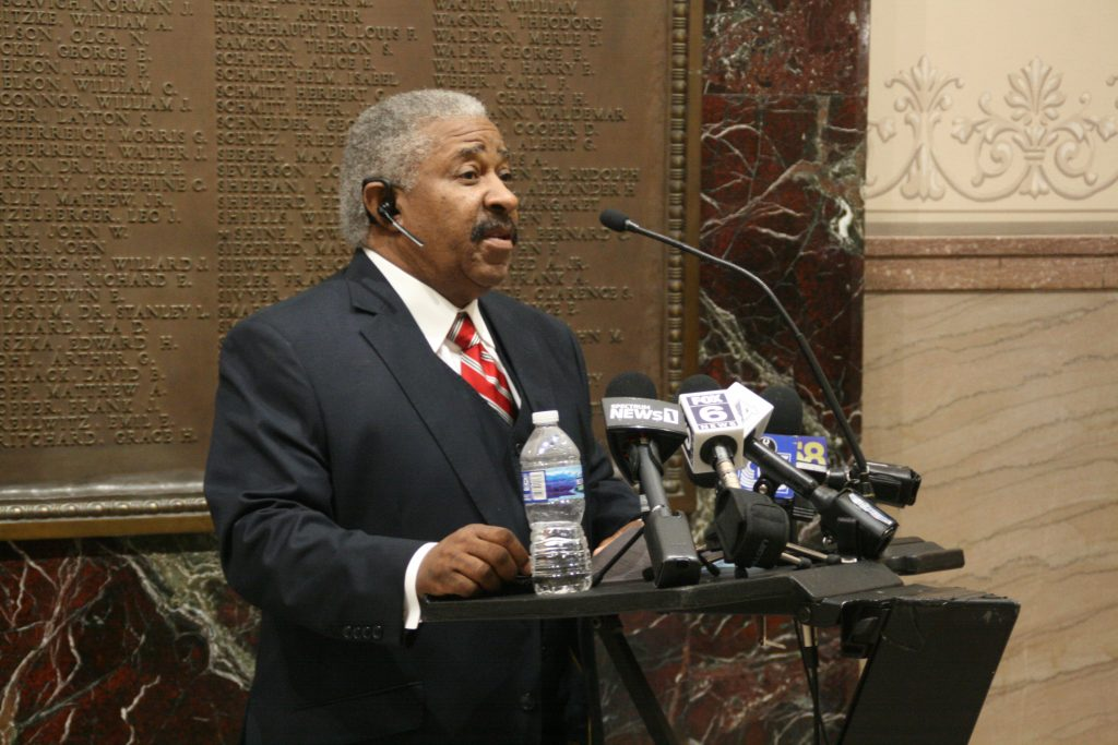 City Attorney Tearman Spencer speaks at an Oct. 7, 2021 press conference. Photo by Jeramey Jannene.